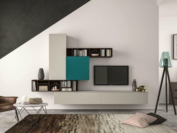 Mueble modular de pared composable SLIM 101 by Dall'Agnese diseño Imago Design, Massimo Rosa