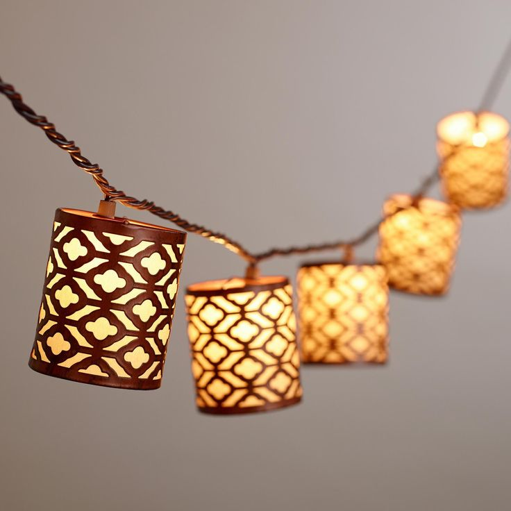 Metal Lattice 10-Bulb String Lights | World Market