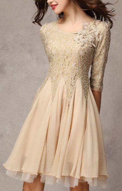 Fashion Chiffon Splicing Pleating Lace Party Dress
