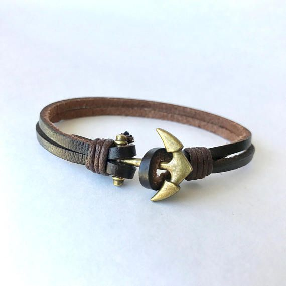 Mens Anchor Bracelet, Men Anchor Bracelet, Anchor Bracelet Men, Anchor Mens Bracelet, Brown Anchor Bracelet, Brown Leather Bracelet, Anchor One of the best male accessories for any casual outfit. This piece can dressed casual, and looks great with plain v-neck shirts and pendant