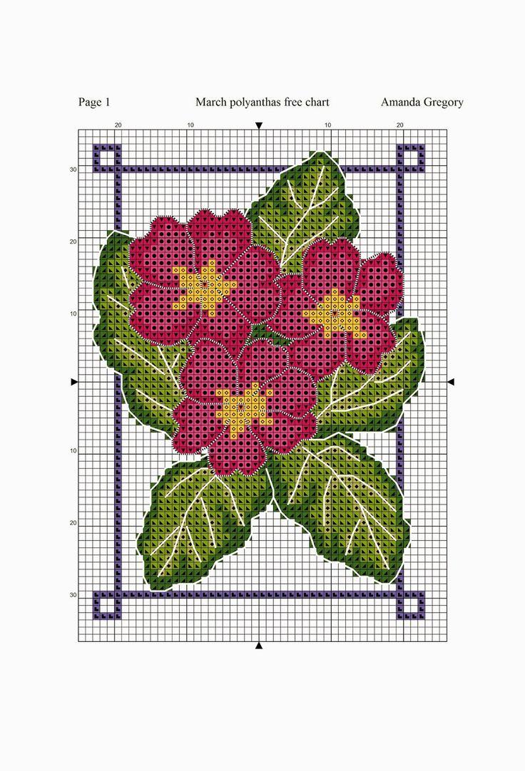 March free chart polyanthus pink and mauve | Amanda Gregory cross-stitch design