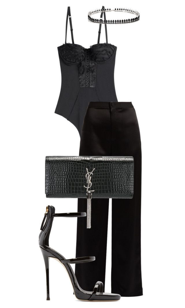 Untitled #25 by distressqn on Polyvore featuring polyvore, fashion, style, Lanvin, Chantal Thomass, Giuseppe Zanotti, Yves Saint Laurent, Fallon and clothing