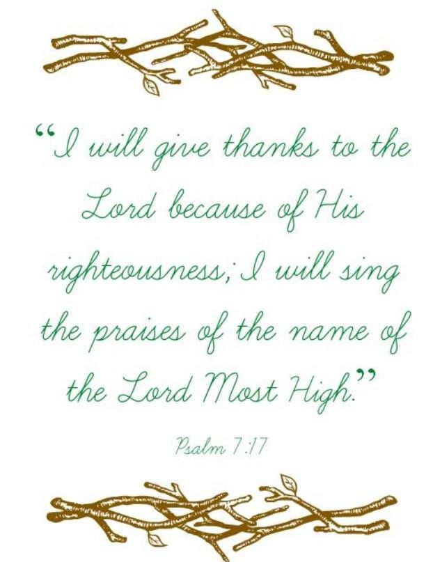 Psalm 7 bible #scripture Give thanks to the #Lord