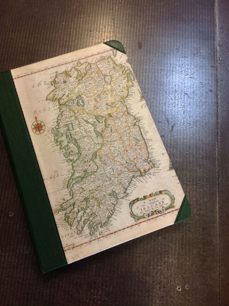 iPad case in half green leather with 16th century Bloome Map of Ireland.