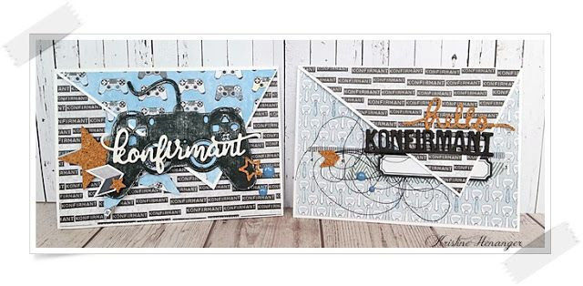 Konvolutt kort til konfirmant, laget for Papirdesign med ark og pynt fra ulike kolleksjoner.