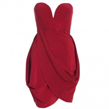Silk Strapless Drape Dress, Garnet