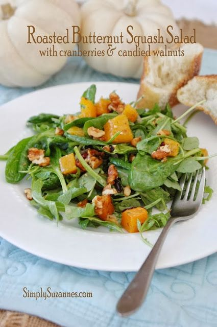 Roasted Butternut Squash Salad add pomegranate and goat cheese