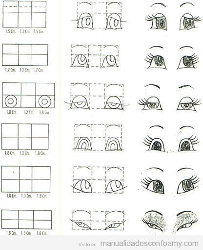 Tutorial paso a paso y plantillas para dibujar los ojos de las muñecas fofuchas: Tutorials, Animated Eyes, Drawing Eyes, Doll Eyes, Painting, Doll S Eyes, Drawing, Eyes