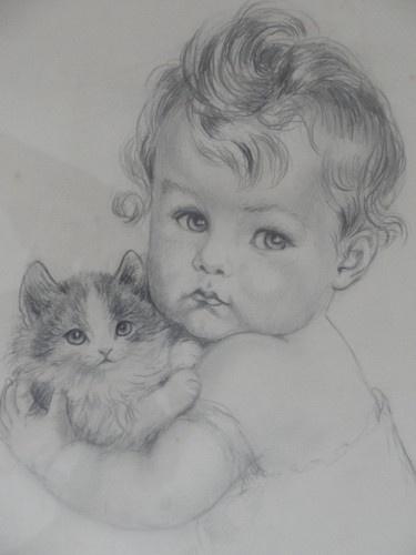 """Meta Pluckebaum Original Hand Signed Drawing ca.1920 """"A girl with a kitten"""" - cat art"""