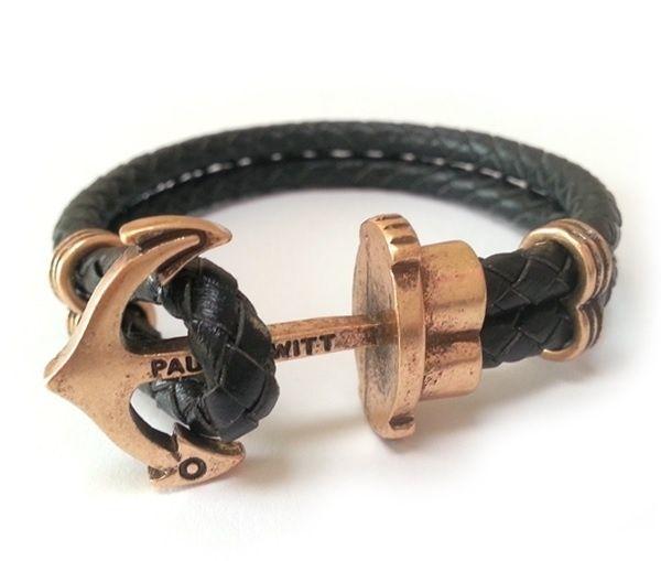 Armband Anker Lederlook Zwart