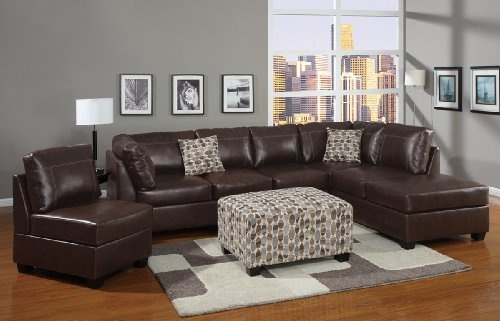Bonded leather Sectional sofa in Coffee brown Finish with Free accent Pillows by Hollywood Decor //.amazon.com/dp/B009315ZDE/refu003dcm_sw_r_pu2026 : pillows for leather sectional - Sectionals, Sofas & Couches
