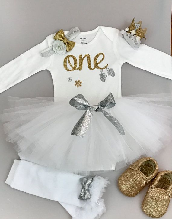 first birthday outfit girl, winter onederland  in white, silver & gold