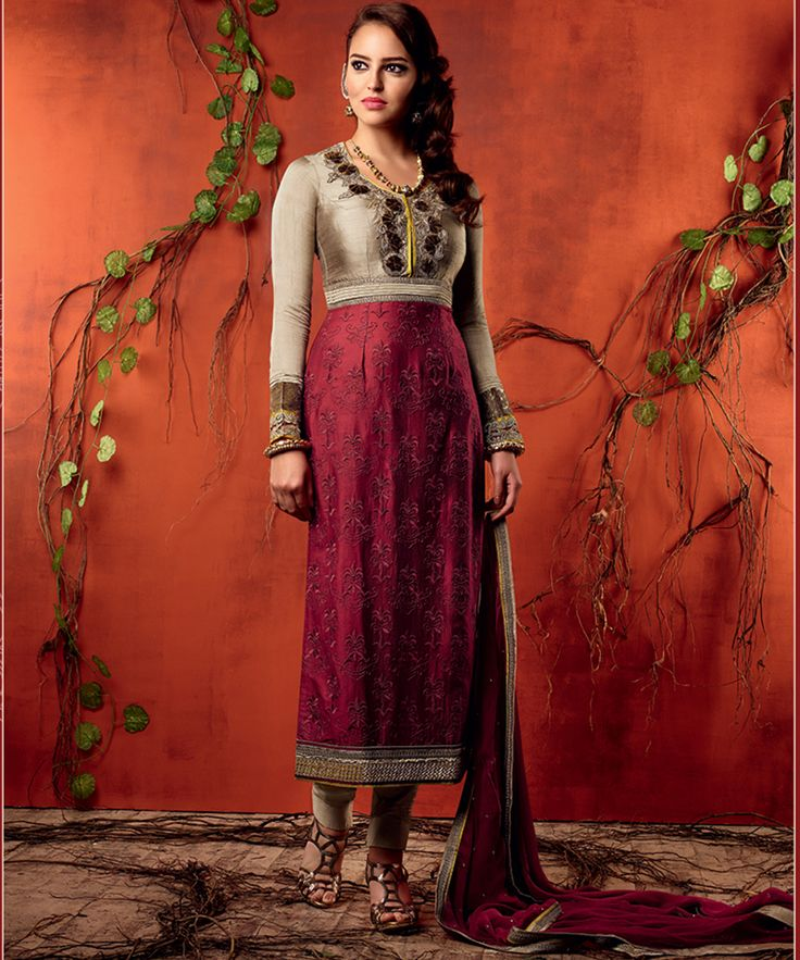 #OnlineShoppingIndia Store sell #Designer Golden Rose indulgence #Embroidered On Neck And Printed On Magenta Cotton Satin Fabric And Grey Border on Magenta Chiffon Dupatta #Straight #semi-stitched #salwar-suit #dress materials.