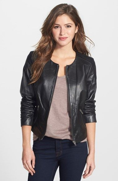 Halogen® Collarless Leather Jacket available at #Nordstrom