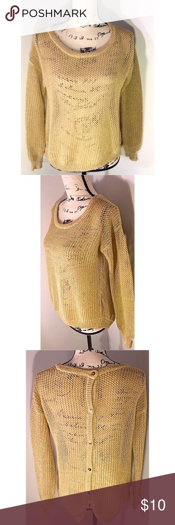 ❤️Sexy Gold Sweater | Size S ❤️ Beautiful gold sweater ❤️ that buttons down in the back. Excellent Condition 😍 Sexy and practical for winter months. Pairs well with a cami underneath. Size S.  Make this ☝🏾️treasure yours today ☺️. Don't be scared  to make an offer, you never know unless you try. Bundle multiple items for the best savings. Pay one low price for shipping 🎁! Thanks for stepping into my closet  😘 Sweaters