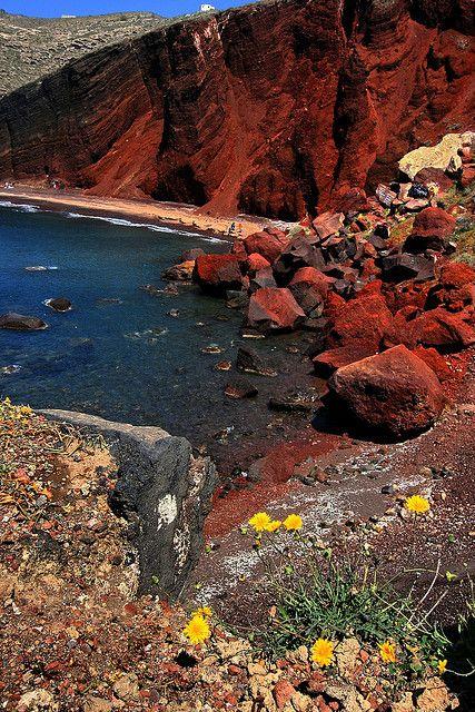Volcanic Red Beach, Santorini island,  Cyclades, Greece