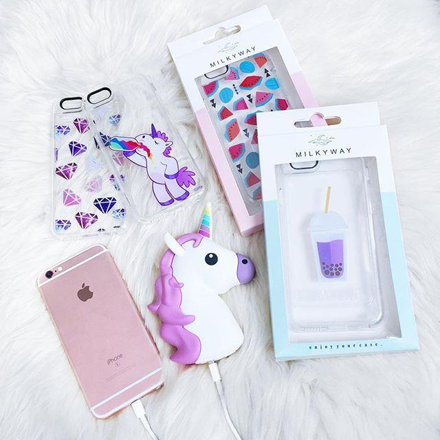 thank you @milkywaycases for my new cases and power bank everything is so cute it makes me cry which case should I use first?