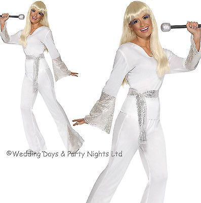 8-18 white #disco costume 70s 80s #ladies fancy dress #outfit dancing queen abba,  View more on the LINK: http://www.zeppy.io/product/gb/2/311009506444/