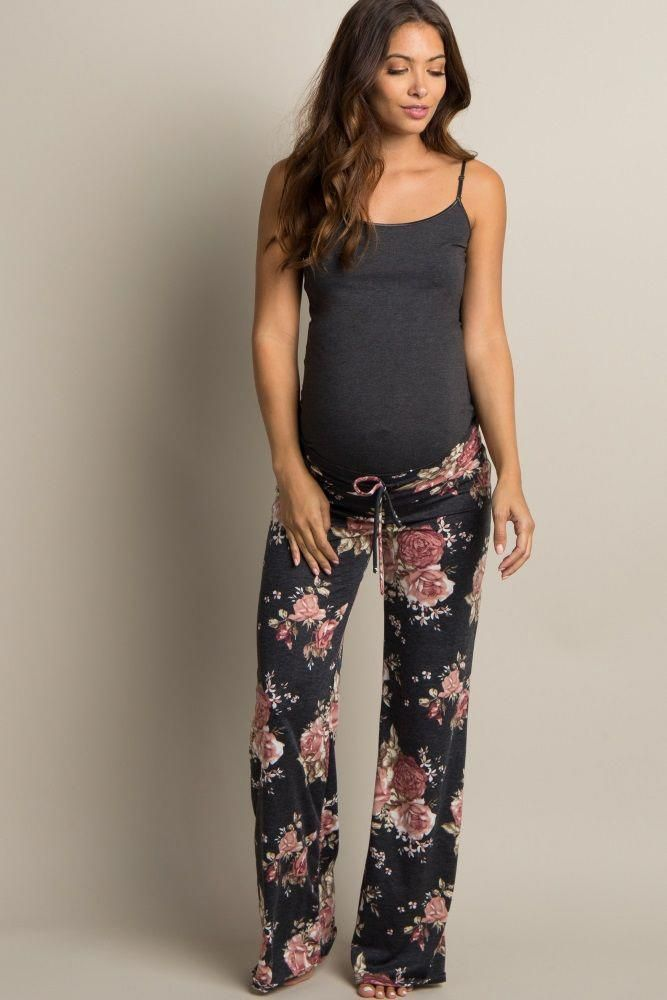 Charcoal Grey Floral Drawstring Maternity Pajama Pants Maternity Pajamas Stylish Maternity Outfits Maternity Clothes