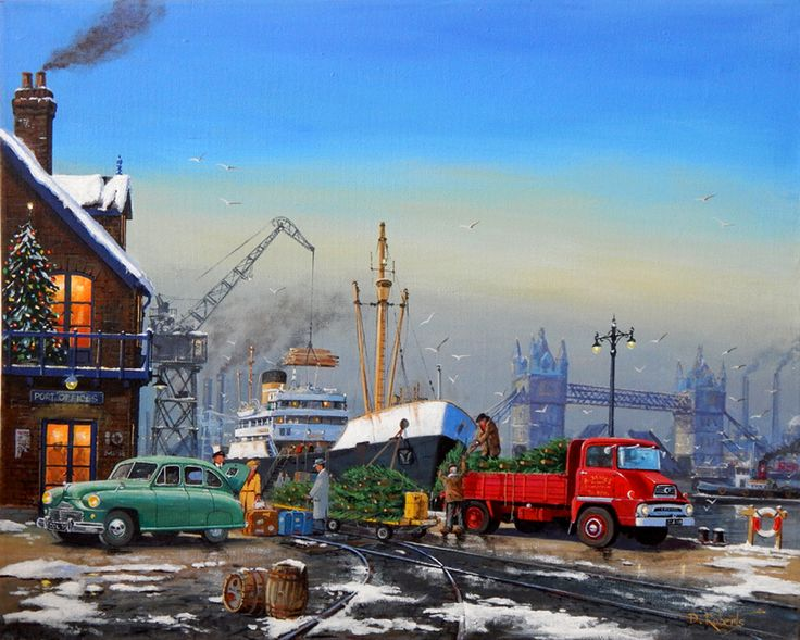 1950's scene of London docks and a family arriving home for Christmas while some imported Christmas trees get loaded onto a Ford Thames truck.