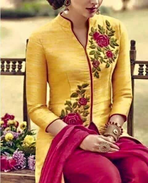 Machine Embroidered Delicate Silk Suit in Yellow Color