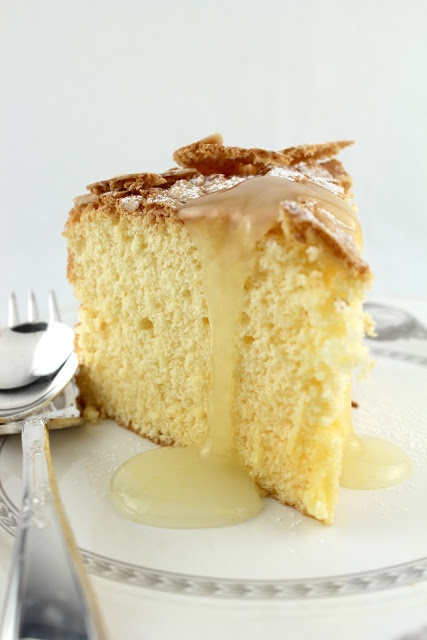 PASSOVER LEMON ALMOND SPONGE CAKE With Warm Lemon Sauce    4 large eggs, separated  1 cup sugar  Finely grated zest and juice from ½ lemon, preferably organic or untreated  ¼ tsp vanilla extract  ½ cup ground almonds  ½ cup potato flour  Pinch salt + few drops lemon juice for whites  Handful slivered blanched almonds to decorate, optional