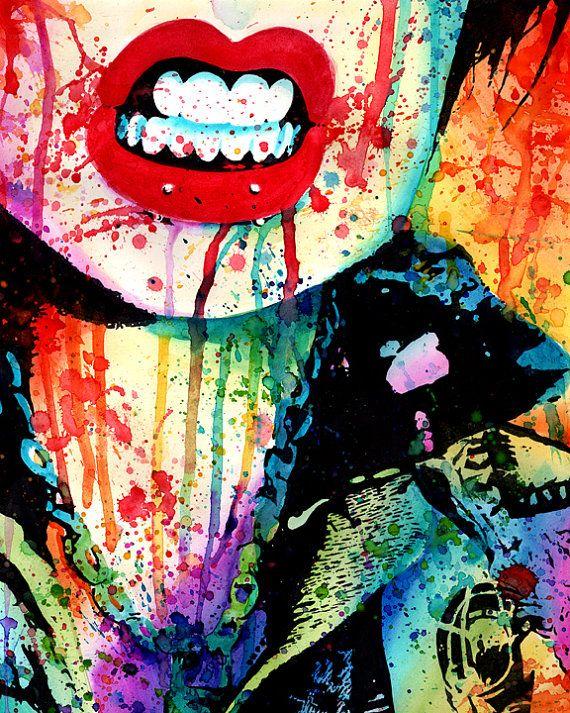5x7, 8x10, or 11x14 in Art Print- Try Me - Punk Rocker Chick Pop Art Rainbow Splatter Portrait
