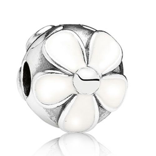 Pandora Darling Daisies, White Enamel Clip Clearance 7902044CZ