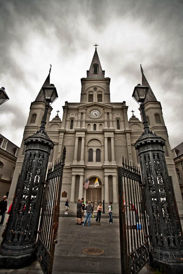 Saint Louis Cathedral in the New Orleans French Quarter, love the angle this is taken from.
