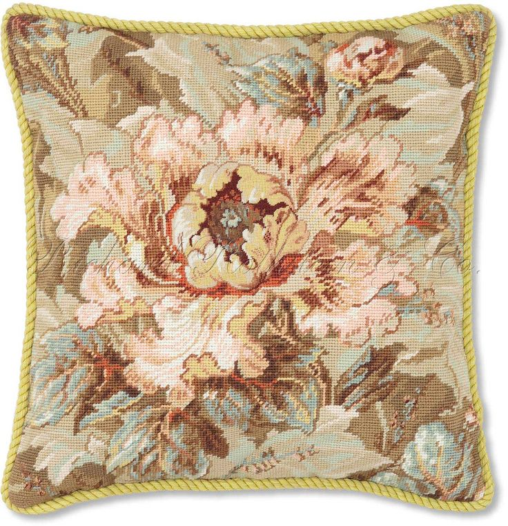 Floral Pillows | Frilly Tulip Needlepoint Pillow | Floral Throw ...