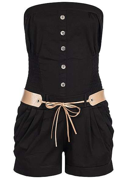 Styleboom Fashion Damen Bandeau Jumpsuit 2 Taschen Gummizug seitl Gürtel schwarz Styleboom Fashion Sweatsuits | 77onlineshop im Online Shop preiswert kaufen