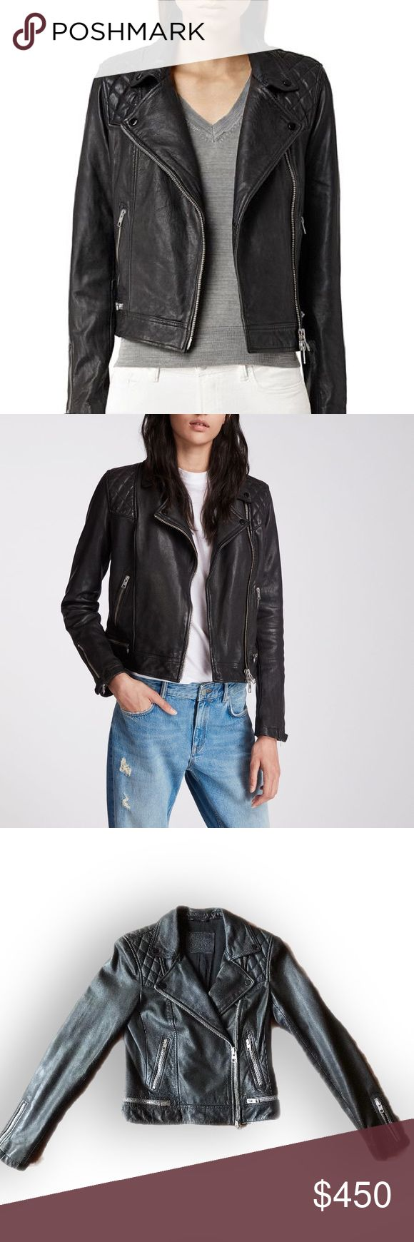 All Saints Conroy Leather Jacket Leather jacket, Clothes
