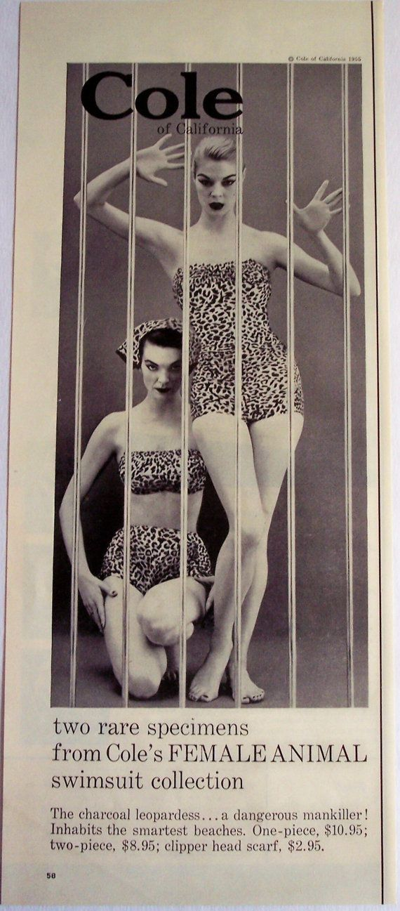 1955 fashion AD Coles Female Animal Swimsuit by AdmanVintageAds, $5.99