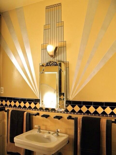 Gold And Black Art Deco Bathroom Image Aquaritus