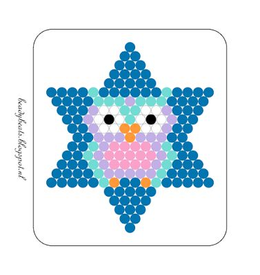 Beady Beads - Star 6c. Perler / Hama / Fusion / Melty / Pyssla Beads. Free Pattern Card! Visit my blog for more free patterns.