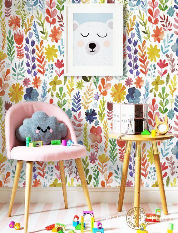 Rainbow Floral Peel Stick Repositionable Fabric Wallpaper Etsy Colorful Kids Room Kids Wallpaper Kid Room Decor