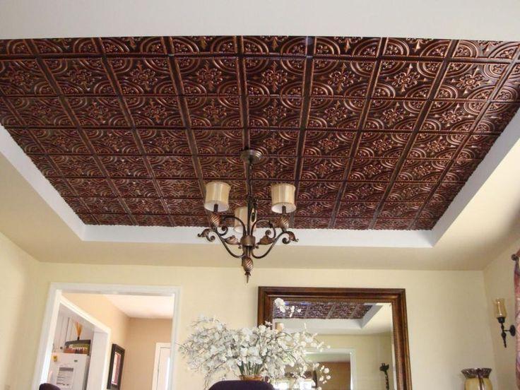 3d embossed faux tin glue up ceiling tile 205 antique copper - Faux Tin Ceiling Tiles