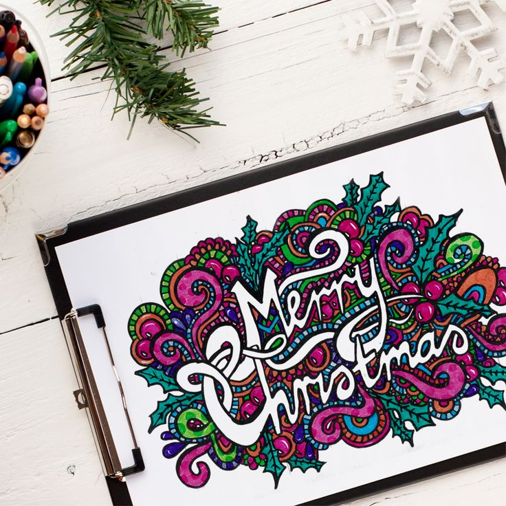 """Check out this coloring page from """"Coloring Christmas""""   Colored by Linda Franklin. Get the coloring book at www.sarahrenaeclark.com #christmas #coloringbook"""