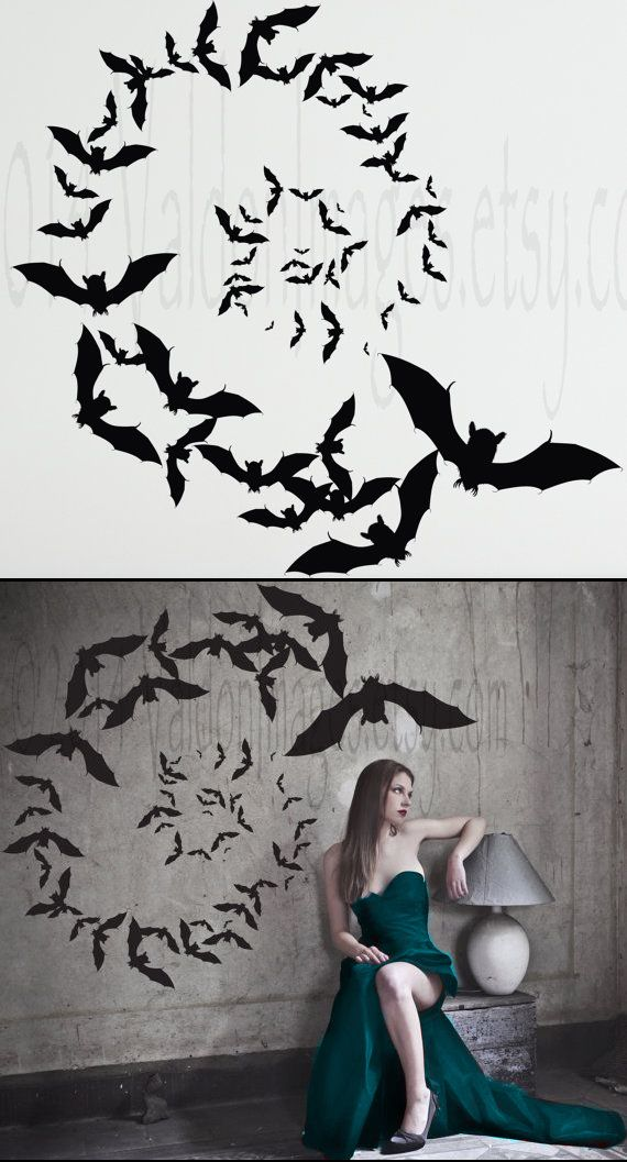 vampire bats spiral formation wall decal vinyl by valdonimages halloween bat boo ball theme - Vampire Halloween Decorations