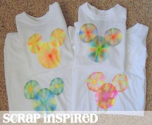 Tie Dye Hidden Mickey shirts using SHARPIE's and RUBBING ALCOHOL.   -   http://scrapinspired.com/2012/11/diy-disney-shirts-magic-kingdom-day-2/