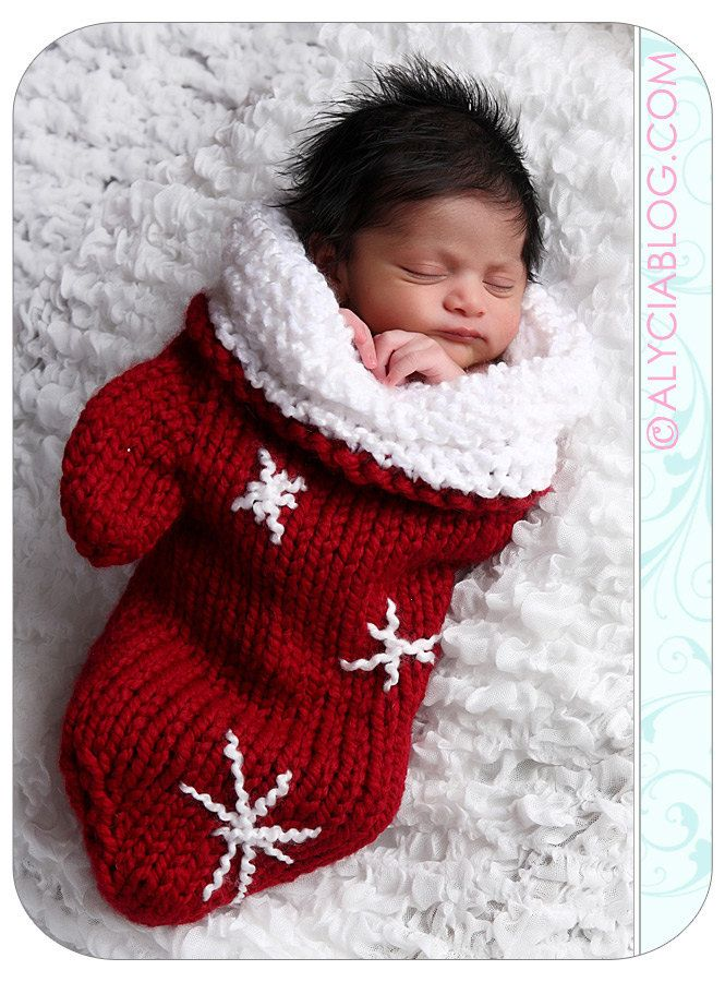 Knit Crochet Newborn Baby Mitten Cocoon or Christmas Stocking Red  Snowflakes Photo Prop. $44.00, via Etsy.