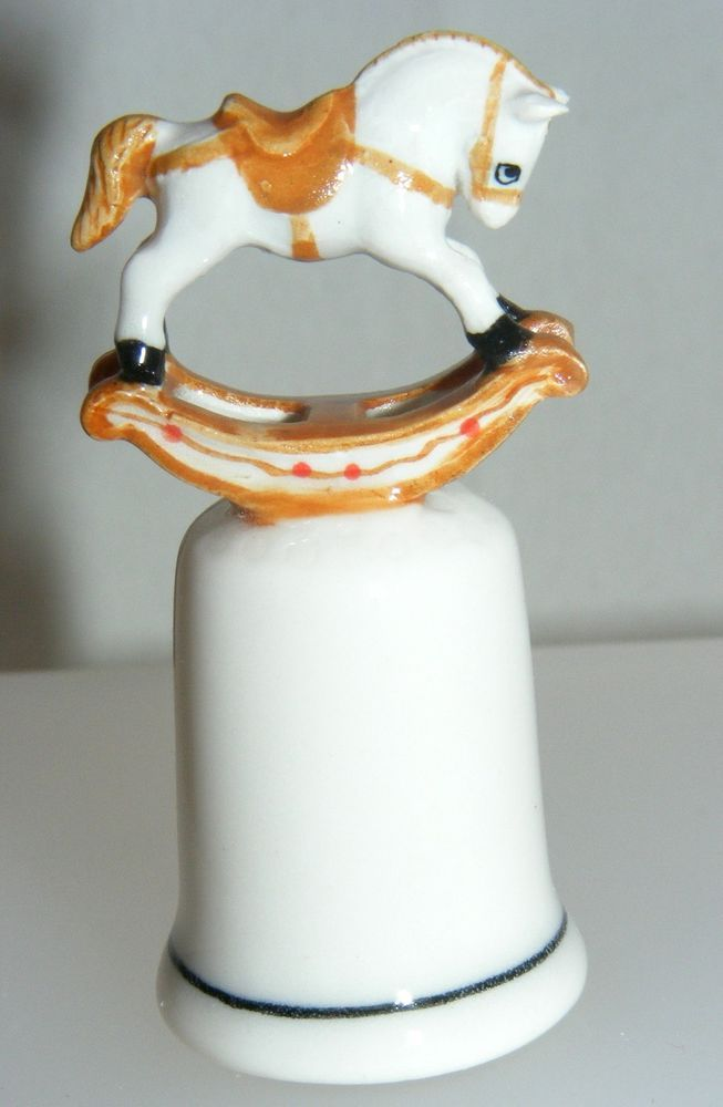 Klima Porcelain Palomino Rocking Horse on Thimble L751