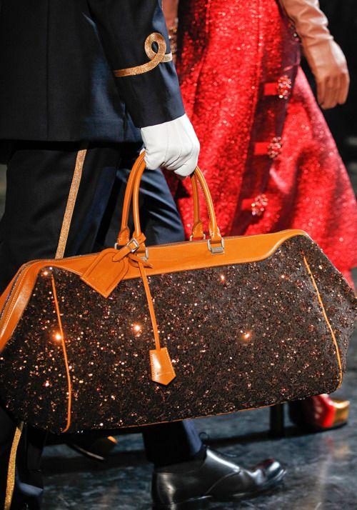 Louis Vuitton Fall 2012 large traditional Louis Vuitton brown print handbag