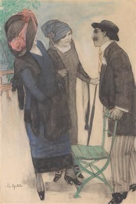 Leo Gestel - Conversation on the boulevard; Creation Date: 1910; Medium: pastel, charcoal on paper