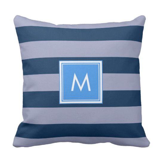 Modern light blue gray navy blue stripes monogram pillow.