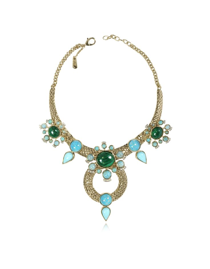 Bohemian Gold and Turquoise Necklace is the perfect evening statement piece or for those extravagant poolside parties. Featuring etched gold tone brass collar embellished with malachite starbursts and turquoise colored stones in teardrop design with chain and lobster clasp closure. Signature dust bag included.