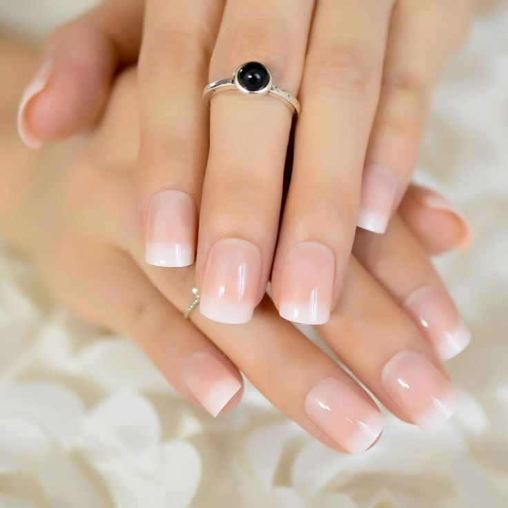 Ombre French Squoval Faux Nails – Fake Nail Store