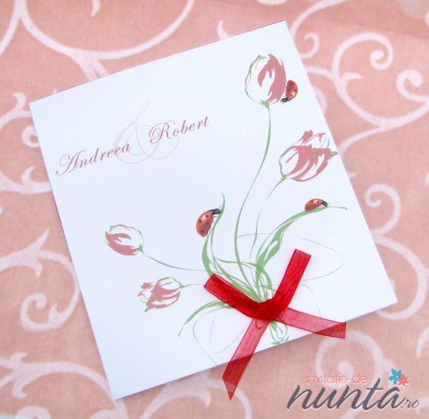 Invitatie de nunta cu buburuze si lalele Ladybug. O invitatie care te duce cu gandul la zilele insorite de inceput de vara.