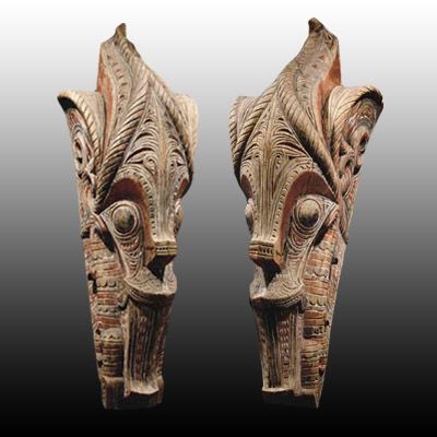 Tribal Art North Sumatra Pair Singa Heads