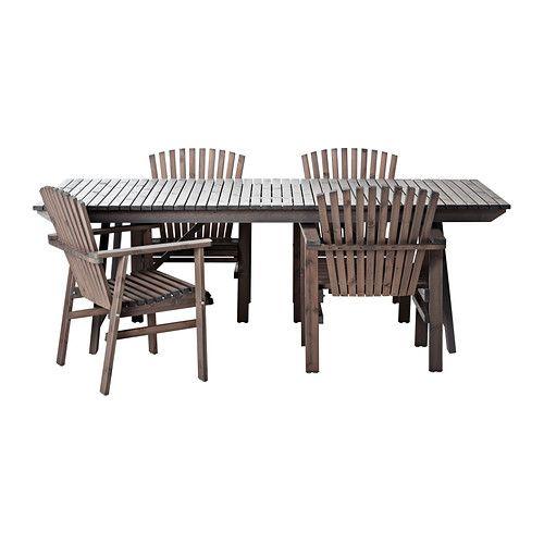 SUNDERÖ Bord+4 stolar, utomhus IKEA Den generösa storleken, vinklade ryggen och de breda armstöden gör att du sitter bekvämt.